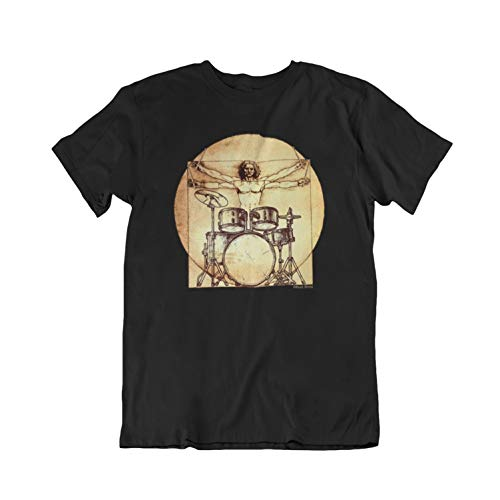Buzz Shirts - Da Vinci Drummer - Mens Ladies Unisex Drumming T-Shirt Black