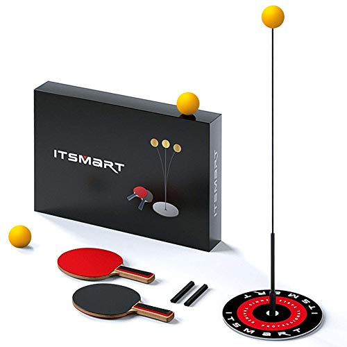 Tischtennistrainer mit Elastischem Weichem Schaft Tragbares Tischtennis-Set Für Selbsttraining/Freizeit/Dekompression/Kind Indoor Outdoor Spielen (Mit Schläger, 1.1m-flexible Achslänge)