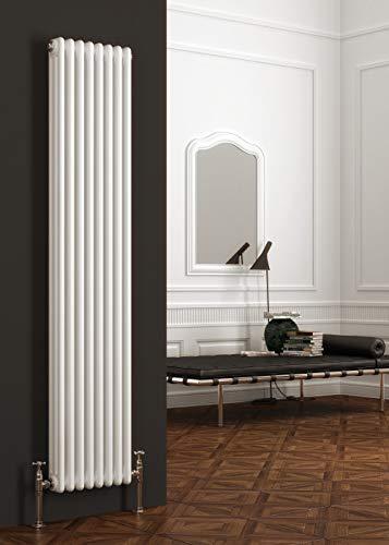 Radiador de calefacción central de hierro fundido de color blanco de lujo con doble columna, vertical, para baños, cocinas y habitaciones Colona, blanco