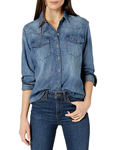 Marca Amazon - Goodthreads Denim Western Shirt dress-shirts, Desteñido medio, US S (EU S - M)