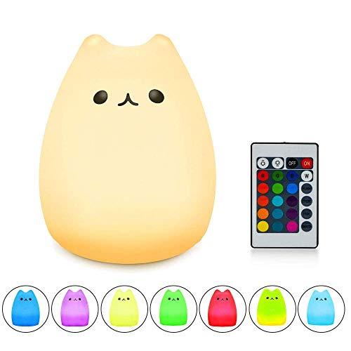 Veilleuse LED enfant Dewanxin Lampe de chevet Lampe de chevet LED Forme de chat (7 modes de lumière, Dimmable, protection des yeux, ABS & Silicone Pratique USB Charge [Classe énergétique A]