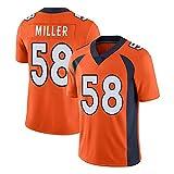 RENDONG NFL Football Jersey Denver Broncos 58 Miller II Jersey Mens Rugby V-Neck Ballon de Match Costume Jersey Football américain,Orange,S