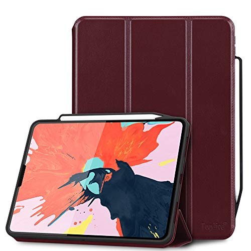 Toplive Luxury Cowhide Genuine Leather iPad Pro 12.9 Case (2018), [Support Apple Pencil Charging],Smart Stand Folio Case Cover for iPad Pro 12.9 3rd Generation with Auto Sleep Wake Function, Wine Red