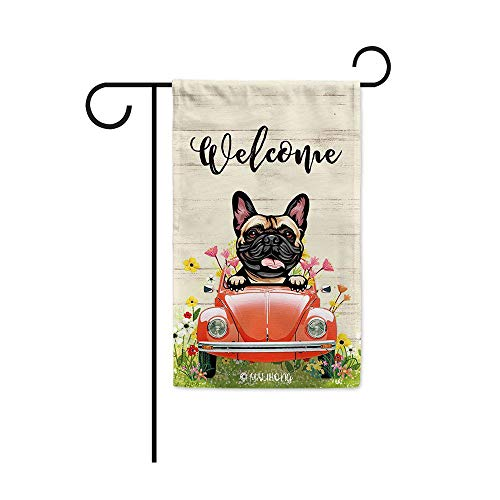 MALIHONG Welcome Dog Garden Flag Cute Peeking Dog French Bulldog in Red Retro Car Surrounding with Flowers Spring Summer Banner for Home Decor 12.5 x 18 Inch
