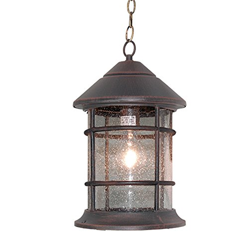 eTopLighting Bella Luce Collection Outdoor Pendant Hanging Lantern, Oil Rubbed Rust Finish Clear Seeded Glass APL1018