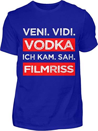 Kreisligahelden T-Shirt Herren Lustig Veni Vidi Vodka - Kurzarm Shirt Baumwolle mit Spruch Aufdruck - Karneval Party Junggesellenabschied Fun Saufen Vodka (4XL, Blau)