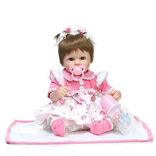 ZHENGRUI 42cm Ganzkörper Silikon Reborn Baby-Puppe Mädchen Lebensecht Baby-Reborn Prinzessin Puppe Geburtstag Weihnachten Geschenk Für Mädchen,Pink-16.5in(42cm)