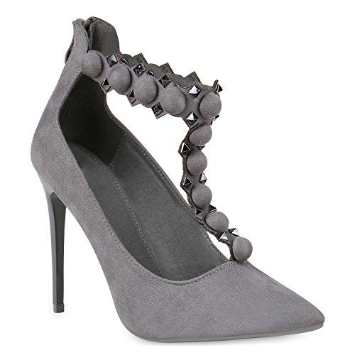 Damen Spitze Pumps Stilettos High Heels Nieten Lack Party Schuhe 146545 Grau Knöpfe 40 Flandell
