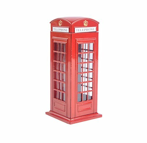 D-Foxes Delicado Gran Bretaña aleación de Metal Dinero Moneda Spare Change Piggy Calle de Londres Cabina de teléfono Rojo Banco Souvenir Regalo Modelo Caja Tarro (Grande)