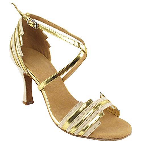 "Women's Ballroom Dance Shoes Tango Wedding Salsa Dance Shoes Beige Nubuck 9691EB Comfortable - Very Fine 2.5"" Heel 8 M US [Bundle of 5]"