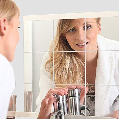 Espejo Suave SIRIGOGOGOGOGO con Hojas de Espejo de plástico Flexible, sin Cristal, Espejo de Cuerpo Completo, Pegatinas de Pared para decoración del hogar, 15 x 15 cm, 9PCS