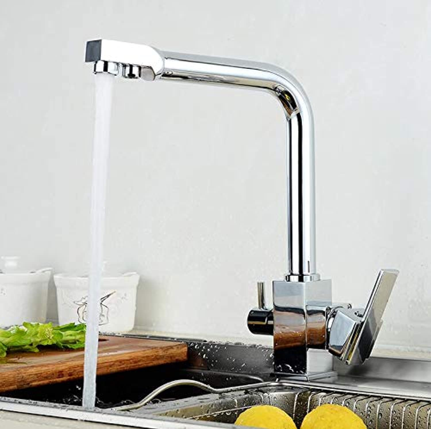 Makej Kitchen Drinking Water Faucet Dual Handle Chrome Kitchen Faucet with Filtered Water Mixer Cold and Hot Faucets