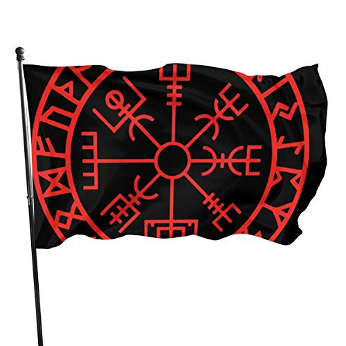N/A Gartenflagge Patryflagge Outdoorflagge Gartenflagge Lustige Tischtennisflagge Outdoor Hof-Flagge Wand Rasen Banner Home Flagge Dekoration 90 x 150 cm Wikinger-Symbol Nordischer Kompass