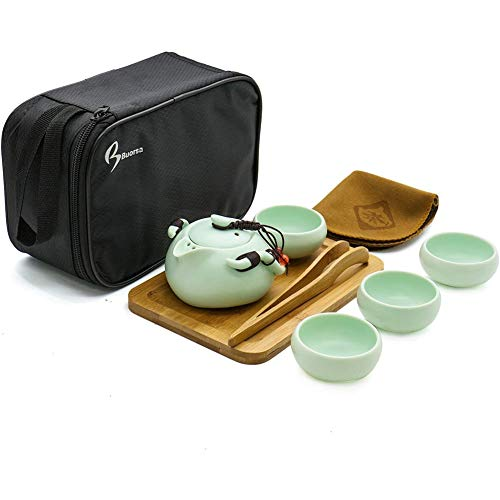 Porselein Tea Set for Travel, draagbare, 8 Pieces, Vintage Style Chinees/Japans, Handgemaakt, met Travel Bag (4 kopjes)