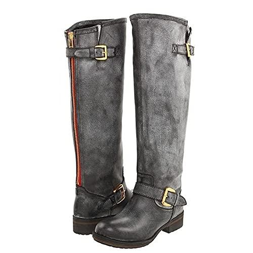 Bnjghcug Hommes Chevalier Bottes Viking Cosplay GN Chaussures PU Cuir Guerrier Femmes Cosplay Fantaisie Botte Carnaval Fête Steampunk Médiéval Costume Accessoires,Gris,38