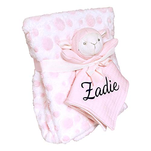 SONA G DESIGNS Plush Animal Security Lovey with Blanket Gift Set for Newborn Infant - Custom Personalized Available (Pink Lamb with Embroidered Name)