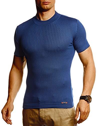 Leif Nelson Herren Sommer T-Shirt Rundhals Ausschnitt Slim Fit aus Feinstrick Cooles Basic Männer T-Shirt Crew Neck Jungen Kurzarmshirt O-Neck Sweater Shirt Kurzarm Lang LN20768 D. Blau Small