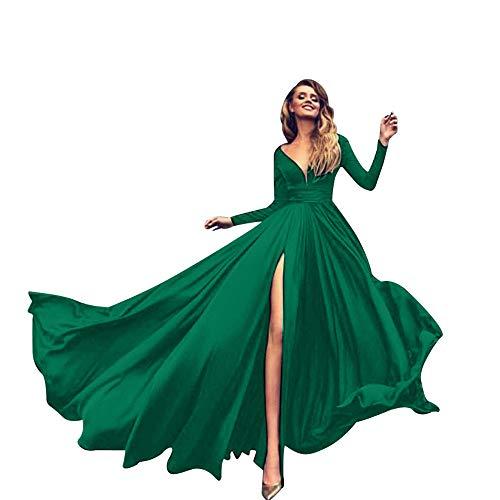 ASHOP Vestidos Mujer Casual otoño Invierno Monos de Vestir Fiesta Largos Falda Flamenca (Verde,M)