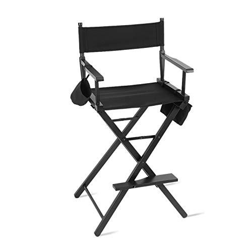 Cocoarm Regiestuhl Make Up Stuhl Hoch Regisseur Stuhl Schminkstuhl Klappstuhl Holz Faltbar Direktor Chair mit Seitentaschen Schwarz für Studio Make-up-Artists Regisseur bei Filmen usw