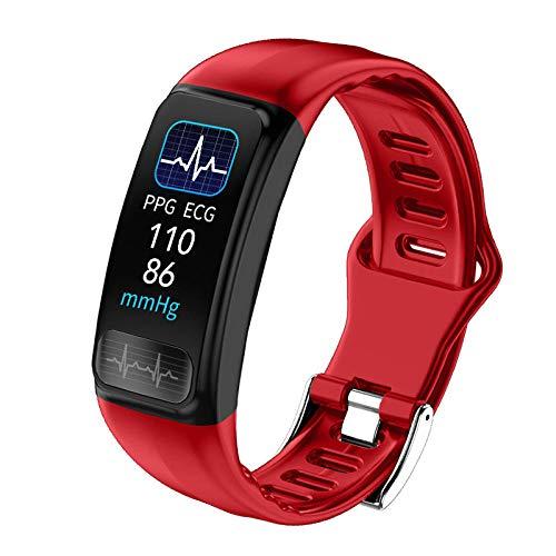 NUNGBE Intelligentes Armband, wasserdichte IP67-Herzfrequenz, Blutdruck, Blutdruck-Sauerstoffmonitor, Sportarmband, Fitness-Tracker, Rot