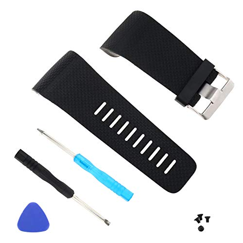 ENET S/L Ersatz-Uhrenarmband aus Silikon, kompatibel mit Fitbit Surge Watch Tracker mit Werkzeug, Schwarz/Blau/Violett, Schwarz , Large