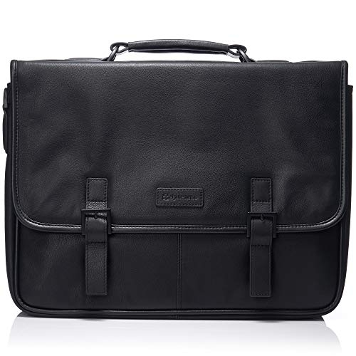 "Alpine Swiss Genuine Leather 15.6"" Laptop Briefcase Flap Over Messenger Bag BLK"