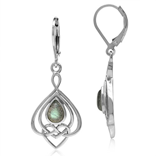 Silvershake Labradorite 925 Sterling Silver Celtic Heart Knot Drop Dangle Leverback Earrings
