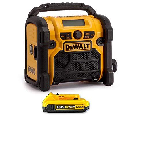 DeWALT DCR020 240V DAB FM Jobsite Digital Radio with 1 x 2Ah Battery
