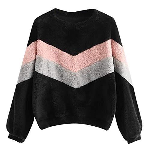Sudadera Mujer Invierno Tumblr Camisetas Manga Larga Pullover de Felpa Caliente Suéter Sueltas Pelo Jersey Cálido Ropa para el Hogar Tops Deportivo Pulóver Casual Outwear