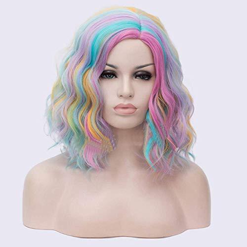 CNDY Teilweise Instant Nudeln Locken Haarfarbe Kurzes lockiges Haar Halloween Dekorative Perücke Geeignet für Party