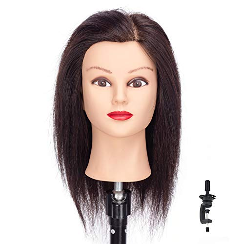 HAIREALM Mannequin Head 100% Real Human Hair Hairdresser Training Head Manikin Cosmetology Doll Head with stand 18 inches RF1201