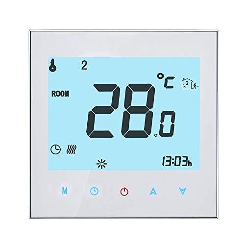 OWSOO Termostato WiFi Inteligente para Calefacción Eléctrica, Control de App Tuya/SmartLife, Control de Voz Compatible con Amazon Echo/Google Home/IFTTT, 16A AC95-240V, Pantalla LCD