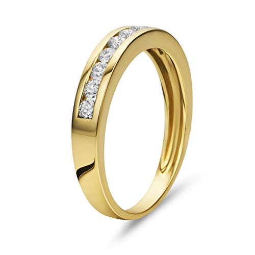 Orovi Damen Diamant Ring Gelbgold, Ewigkeitsring Eternity Ring 14 Karat (585) Gold und Diamanten Brillanten 0.40 Ct, Ehering