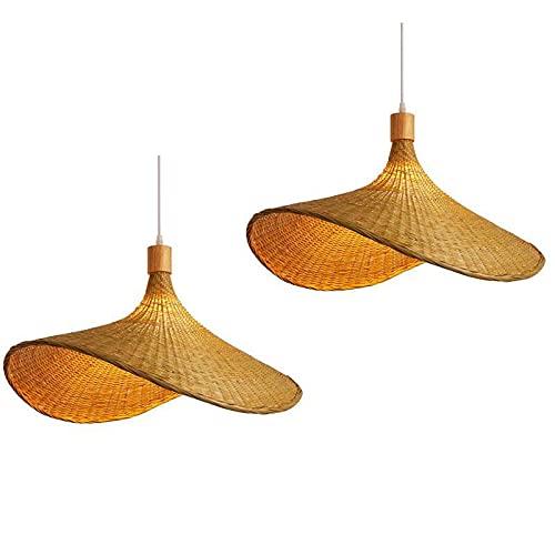 Coding 2 lámparas de techo vintage de bambú tejida, lámpara colgante de bambú natural, nostálgica E27, lámpara de araña de ratán, lámpara para comedor, estudio, cafetería, 30 cm
