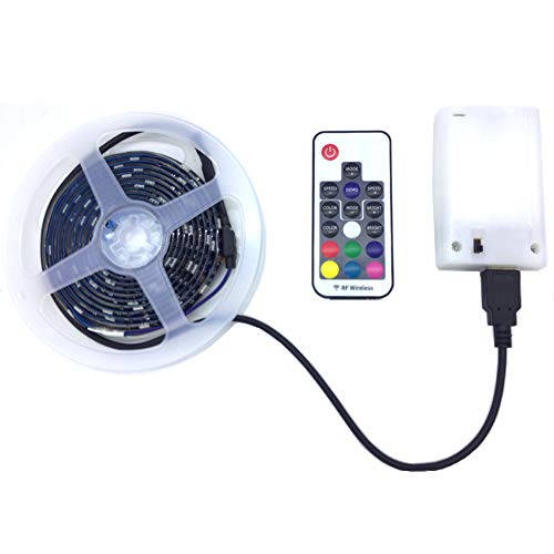 LED Strip Lights Battery Powered - with Remote Waterproof RGB Color Changing Strip Lights SMD5050 5V 2M/6.56FT Battery LED Lights for Bedroom Kitchen TV Party Home Indoor Outdoor Decoration