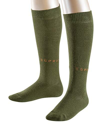 ESPRIT Kinder Kniestrümpfe Foot Logo 2-Pack - Baumwollmischung, 2 Paar, Grün (Dark Moss 7617), Größe: 27-30