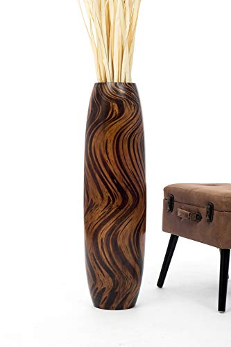 Leewadee Tall Big Floor Standing Vase for Home Decor 36 inches, Mango Wood, Brown
