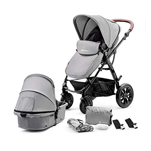 Kinderkraft Pram 2 in 1 Set MOOV, Travel System, Baby Pushchair, Buggy, Foldable, with Pumped Wheels, Carrycot, Accessories, Rain Cover, Footmuff, for Newborn, from Birth to 3 Years, Gray