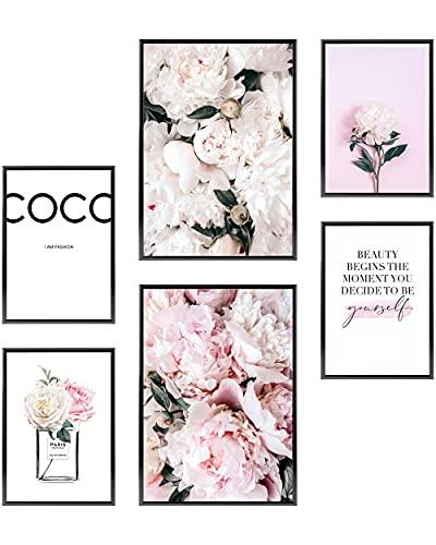 Heimlich® Premium Poster Set | Stilvolles Set mit passenden Bilder als Wohnzimmer Deko | 2 x DIN A3 & 4 x DIN A4 - ca. 30x42 & 21x30 | ohne Bilderrahmen » Pfingst-Rose Coco «