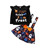 BIBOKAOKE Conjunto de falda y tirantes para bebé y niña, con volantes y tirantes y falda, vestido de verano, conjunto de ropa para bebé, niña, Halloween, bebé, conjunto de ropa