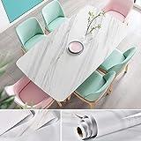 JiuFei Papel Adhesivo para Muebles Marmol 60 X 200cm Papel Marmol Beige Vinilo Marmol Impermeable y Aceite Impermeable Papel Pared para la Cocina Encimera Oficina de Baño