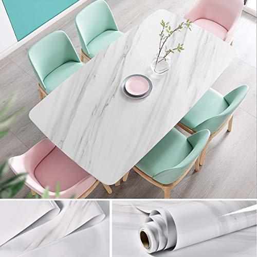 JiuFei Adhesivo Papel Marmol para Muebles PVC Marmol Impermeable y Aceite Impermeable Papel Pared para la Cocina Encimera Oficina de Baño Mármol Blanco, 60 X 200cm