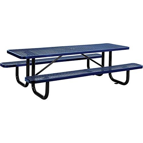 8' Rectangular Picnic Table, Surface Mount, Blue (96' Long)
