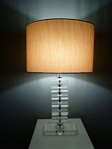 Dapo Tischleuchte mit LED Leuchtmittel, Lampe mit Kristallfuß und Seiden - Stoffschirm, Kristallleuchte Tischlampe (klar-Gold, Fanny 57 cm)
