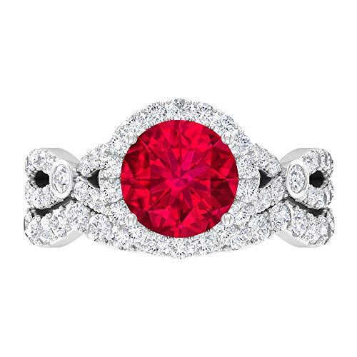 Juego de anillos de novia rellenos de cristal rubí, piedra preciosa redonda de 3,66 quilates, solitario D-VSSI Moissanite 8 mm, anillo de compromiso catedral, 18K Oro blanco, Size:EU 63