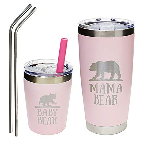 Mama Bear Tumbler and Baby Bear Tumbler Set - Includes Mom Travel Mug, Toddler Stainless Steel Sippy Cup, Reusable Straws for Hot or Cold Drinks in Pink and Silver