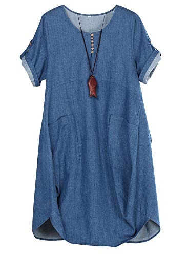 FTCayanz Women's Casual Tunic Dress Short Sleeve Plus Size Midi Dresses with Pockets Denim Blue X-Large