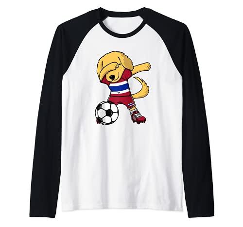 Dabbing Golden Retriever Perro Tailandia Fútbol Tailandesa Camiseta Manga Raglan
