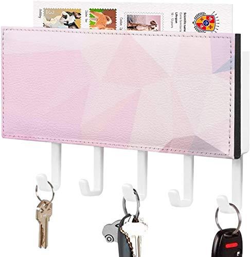 Gancho para llaves montado en la pared, soporte para llaves, decoración del hogar con patrón abstracto de triángulo rosa violeta violeta para la entrada a la habitación, estante de exhibición de peri