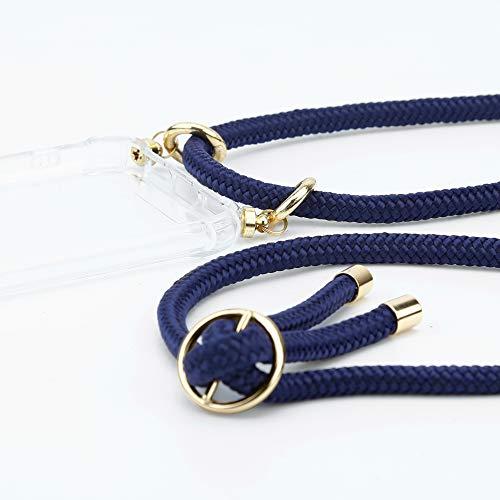 Cadorabo Handy Kette für Huawei NOVA 2 in TIEF BLAU - Silikon Necklace Umhänge Hülle mit Gold Ringen, Kordel Band Schnur und abnehmbarem Etui – Schutzhülle - 2